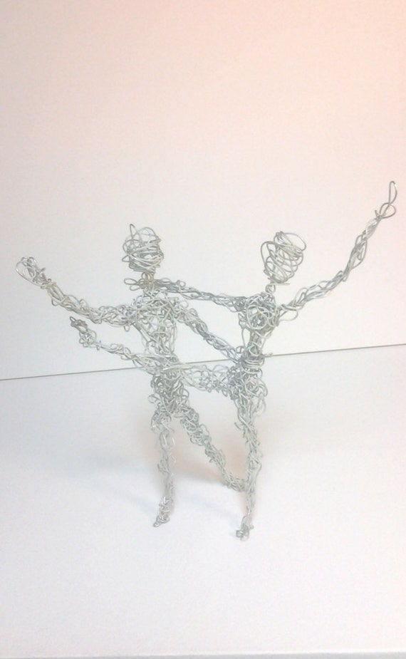 dancing aluminum wire people wire art statue figurine wire