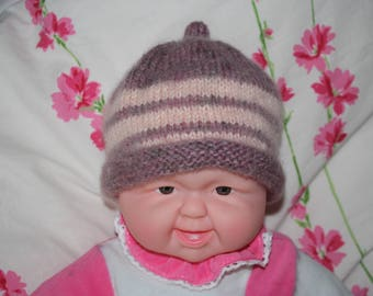 Girl hand knitted newborn Hat