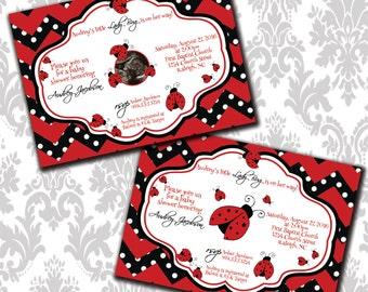 Little LadyBug Baby Shower DIGITAL invitation, 5x7