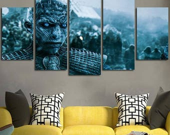 5 Panels Game of Thrones Winter is Coming White Walker Night King Canvas Art Multi Grouped Art Work asoiaf GOT