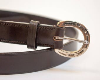 Leather horseshoe belt equestrian hand-stitched brown