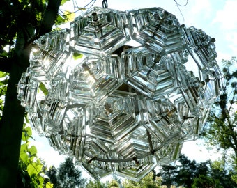 1 of 6 GERMAN BALLROOM CHANDELIER Clear Crystal Glass Hexagons Ceiling Lamp 1960s 1970s