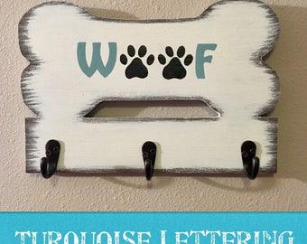 3 Hook/Bone Shaped Wooden Dog Leash Holder/Hooks/Distressed/Rustic/Woof/Personalized/Dog Lover Gift/Walk the Dog/Handmade