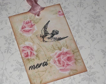 Vintage Paris Roses Gift Tags Paris Apartment Ooh La La Merci
