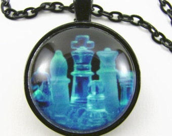 CHESS PIECES in BLUE Necklace -- Glass chess pieces in blue light on black, Chess art necklace, Gift for him or her