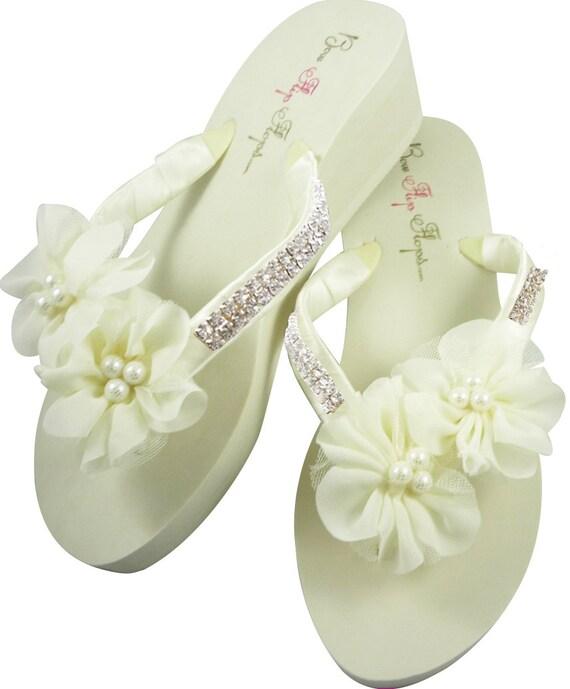 6f414da9c7f5aa ... Bridal Rhinestone Bridal Flip White Bride Platform Flip Flip Heel  Wedding Ribbon Satin Pearl Ivory Flops ...