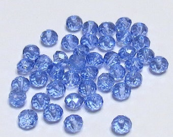 Glass Beads - 42 pcs - Baby Blue - Faceted - 6mm x 4mm - Rondelles