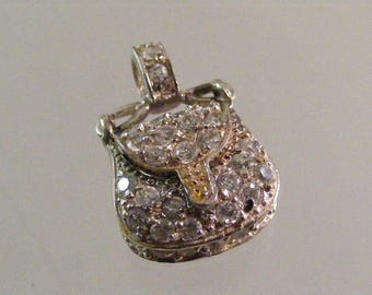 Vintage Rhinestone Adorned  Sterling Silver Purse Pendant .....Lot 5499