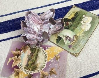 Vintage Vingette Lavender Ocean Barnacle and Vintage Postcards, Shabby Chic or Cottage Vintage Decorating