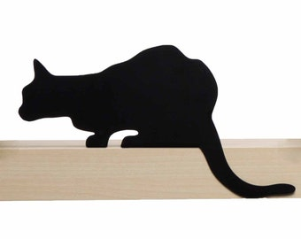 Cat's Meow // Churchill // Metal Designed Art // Unique Gift // Black // Decorative Cat Silhouette by ArtoriDesign