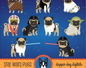 Pug Clipart Star Wars Set - Commercial Use, Vector Images, Digital Clip Art, Digital Images