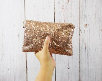 Rose Gold Sequin Clutch- Bridesmaid Clutch- Bridesmaid Gift- Clutch Bag- Clutch - Bridesmaid Proposal- Bridal Clutch- Maid of Honor Gift