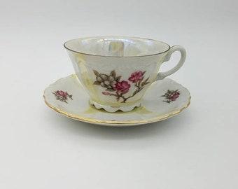 ON SALE Vintage Floral Design Fine China Teacup & Saucer Set - Free US Shipping