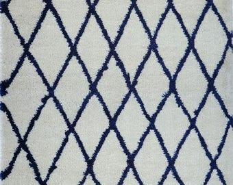 Toronto Trellis Ivory Navy Blue SHAGGY Area Rug