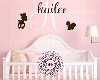 Woodland Animals Wall Decal with Baby Deer Squirrel Bird Initial and Name - Baby Nursery Boy or Girl Wall Art INA0074