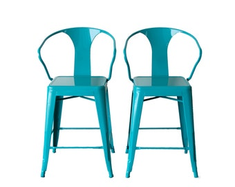 "Custom Painted Tolix Style Arm Chair Counter Stool in 24"" Counter Height:  Painted in the Color of Your Choice"