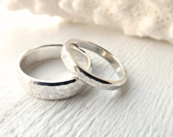 silver wedding bands, rustic wedding rings silver, matching ring set his and hers, hammered silver wedding rings, silver promise ring set