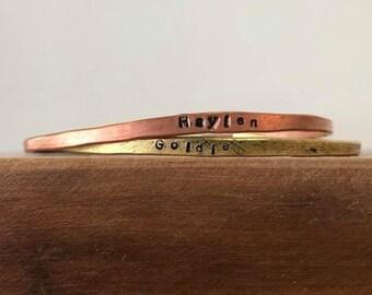 Custom Hammered Handstamped Brass Copper Name Bracelet Personalize