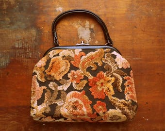 Vintage 1960s Autumn Floral Carpetbag Purse