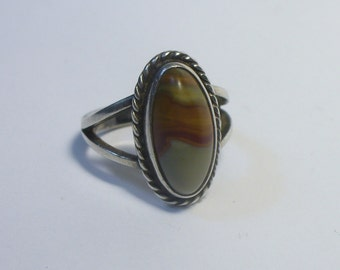 Size 6 - Vintage picture agate sterling ring - southwestern