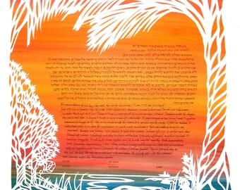 Buckeye and Palm Ketubah- papercut wedding artwork - calligraphy