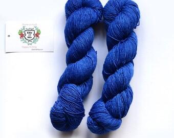 The Cobalt Cult Hand Dyed Semi Solid Merino Singles Yarn
