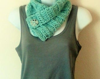 Neck Warmer Scarf - Buttoned Cowl - Buttoned Cowl Scarflette - Wool Blend Scarf - Robin's Egg Blue - Aqua