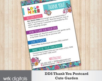Dot Dot Smile Thank You Card, Care Card, Cute Garden Design, Customized Design, Direct Sales, Fashion Consultant