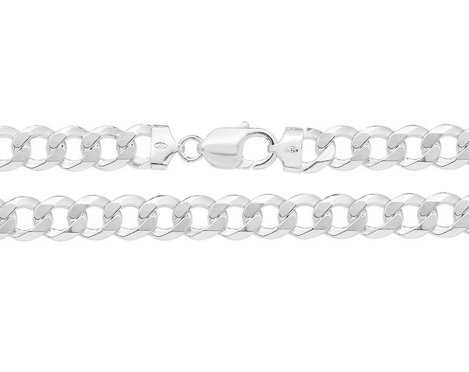 """Gents Solid 925 Heavy Sterling Silver Flat 9mm Curb Chain 20"""" 22"""" 24"""""""