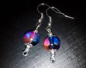Pearl drop long purple blue earrings