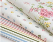 spring series flower stripe and dot cotton linen fabric home decor fabric tablecloth fabric curtain fabric handmade fabric 1/2 yard