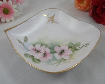 Hand Painted Pink Flower Serving Candy or Trinket Dish Artist Signed