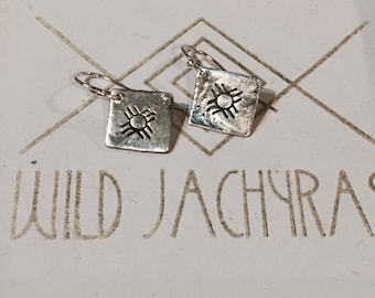 Sacred Zia Sun  Symbol silver dangle earrings