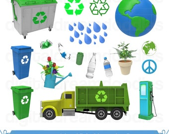 Recycle Clipart, Earth Day Clipart, Recycling Clip Art, Garbage Truck, Eco Friendly Graphic PNG, Trash Collector Scrapbook, Digital Download