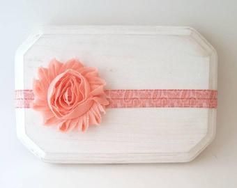 Peach Paisley Print Headband - Peach Baby Bow - Paisley Bow - Peach Cake Smash Prop - Toddler Headband - Newborn Photo Prop - Peach Headband