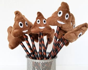 Poop Emoji Pen with Plush, Party Favors, Funny Gift for Tween, Teens, Adults! 12 Pack