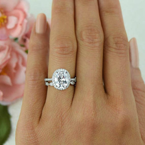 Oval Moissanite Ring Bezel Solitaire Engagement Ring, Oval Wedding ...
