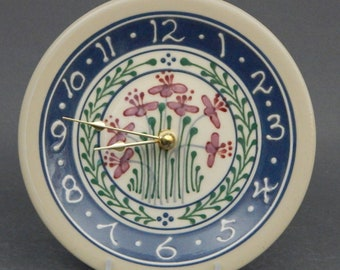 """7"""" Small Stoneware Clock Red Flowers with Red  Pink and Green Accents Blue banding - Stoneware Pottery"""