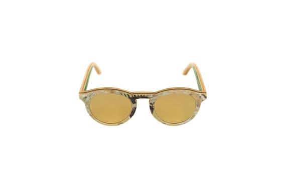Lunettes de soleil 7PLIS #295 skateboard recyclé #BOWL gold gris vert        verre plat gold catégorie 3