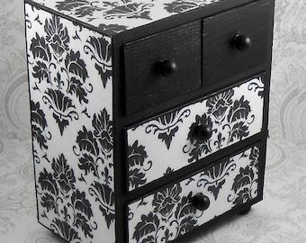 Custom Black and White Damask Stash Jewelry Box