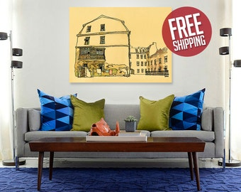 UZUPIS #1, Vilnius Old Town, Lithuania, Canvas Print, Original Artwork, Old House Painting, Watercolor, Home Decor, Wall Art, FREE Shipping!
