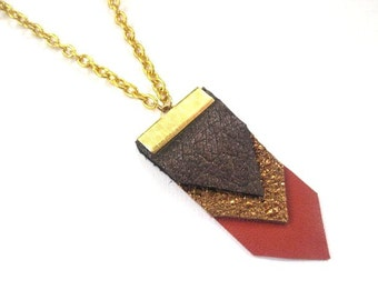 GEOMETRIC LEATHER NECKLACE- comes in a variety of color options