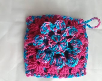 CROCHET POTHOLDER/ HOT multicolor shades of pnk and blue
