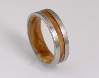 wood wedding band mens wedding ring woman band OLIVE WOOD ring man jewelry titanium ring wood ring