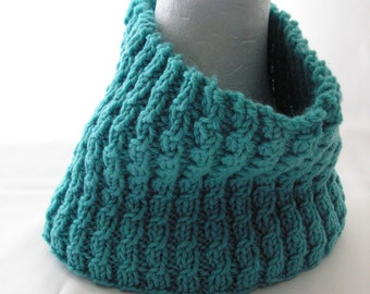 Wool Circle Scarf Turquoise Green Cowl Adult Size Winter Accessories Ready to Ship