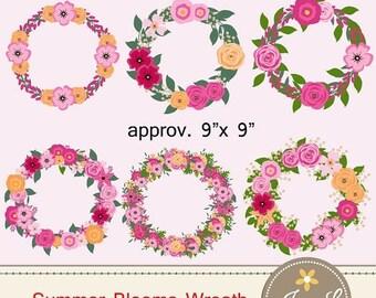 50% OFF Summer Flower Wreath Clipart, Pink Wedding Flowers, Shabby Flower Bunches, Floral wreaths for digital Scrapbooking, Wedding, Invitat