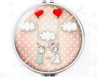 Large silver cabochon connector love couple Valentine's day 3