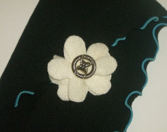SALE: Antique white layered felt flower pin brooch with vintage silver decorative button