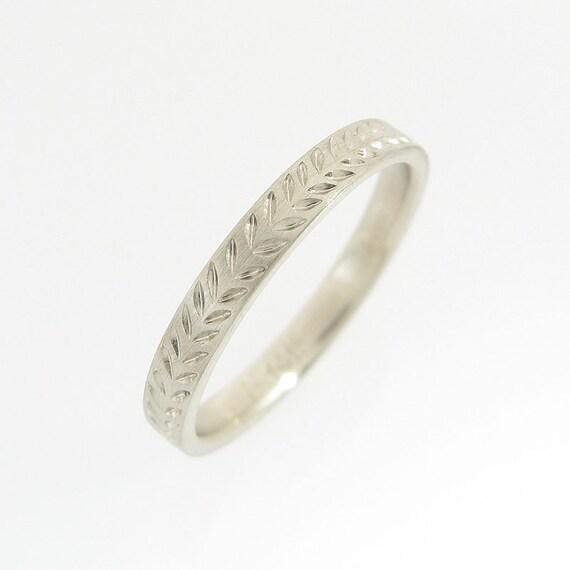 Weizen-Muster Ehering Weißgold Ehering ring von Hand graviert