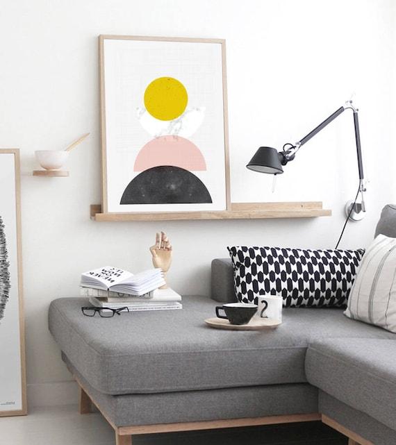 MID CENTURY GÉOMÉTIRE // Mid Century Poster, 24x36, art geometrique , abstrait, yellow, Minimalist, Scandinavian art, pink